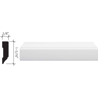 Inteplast Building Products 3/8 In. W. x 1-5/16 In. H. x 7 Ft. L. Crystal White Polystyrene Stop Molding