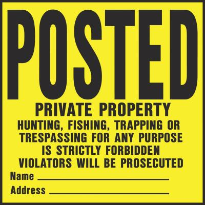 Hy-Ko Heavy Gauge Plastic Sign, Posted Private Property
