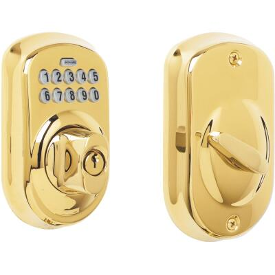 Schlage Keypad Bright Brass Electronic Deadbolt