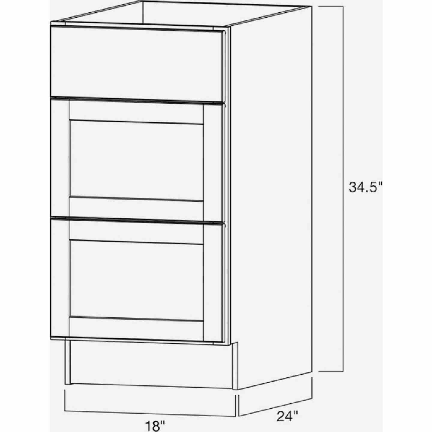 Continental Cabinets Andover Shaker 18 In. W x 34-1/2 In. H x 24 In. D White Thermofoil Kitchen Cabinet Drawer Base Image 4