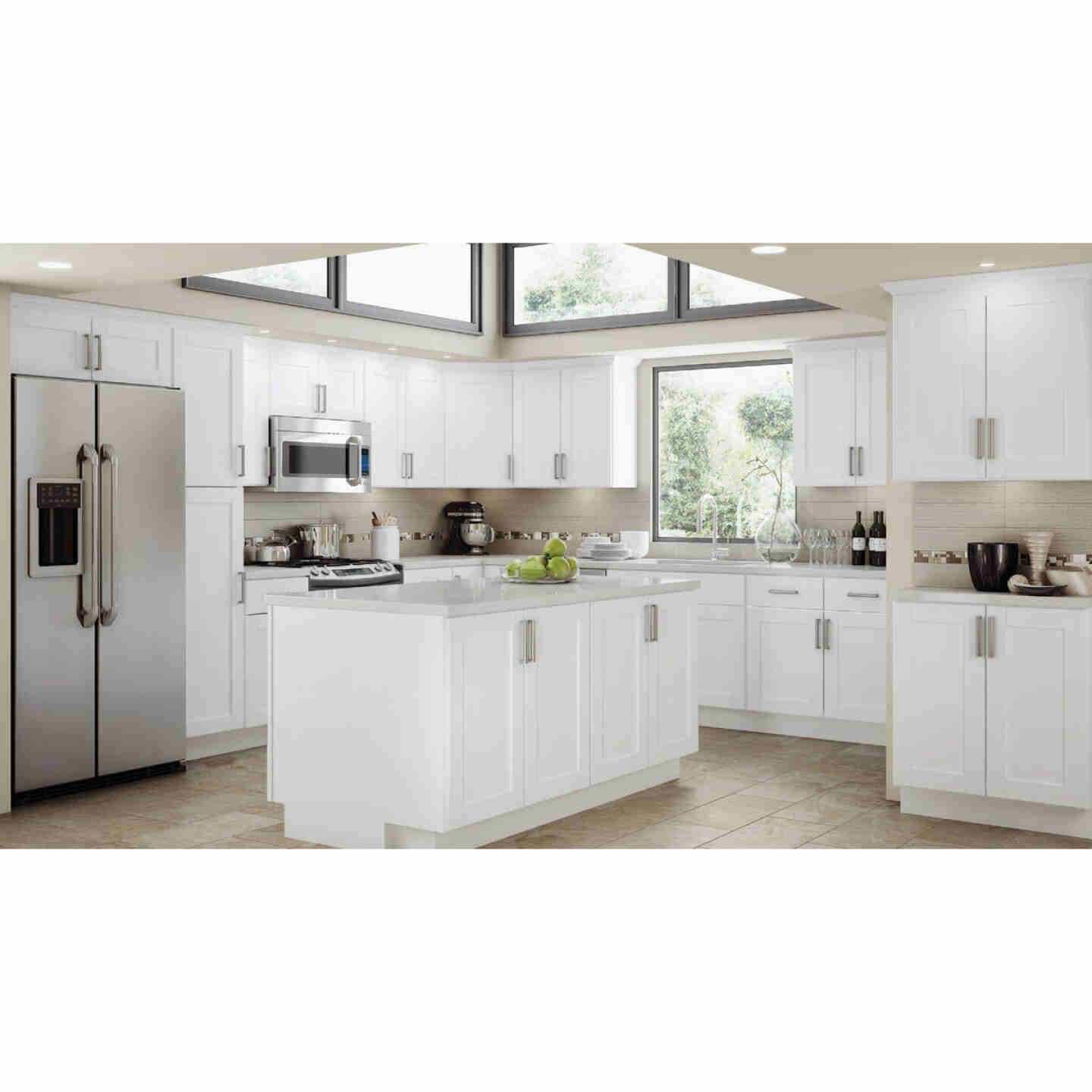 Continental Cabinets Andover Shaker 18 In. W x 34-1/2 In. H x 24 In. D White Thermofoil Kitchen Cabinet Drawer Base Image 2