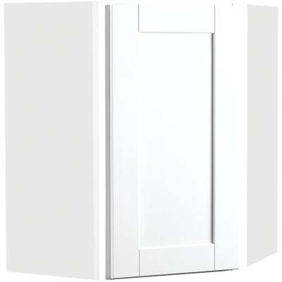 Continental Cabinets Andover Shaker 24 In. W x 30 In. H x 12 In. D White Thermofoil Corner Wall Kitchen Cabinet