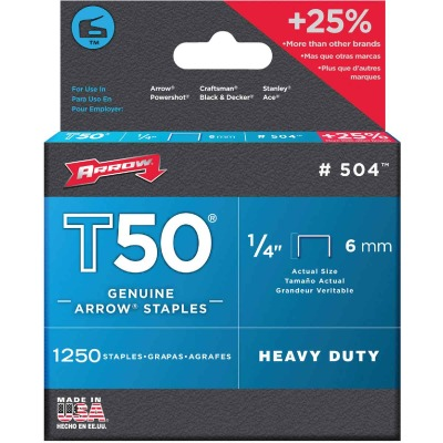 Arrow T50 Heavy-Duty Staple, 1/4 In. (1250-Pack)