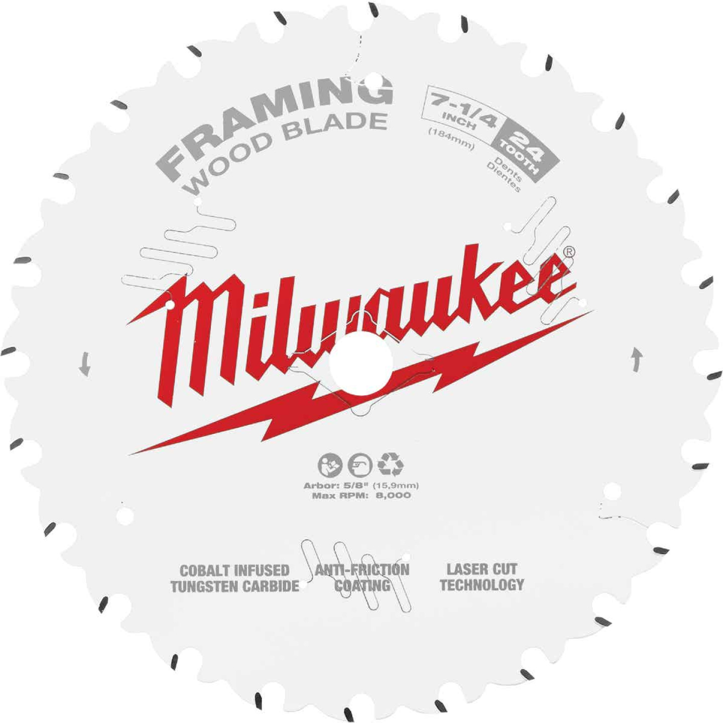 Milwaukee 7-1/4 In. 24-Tooth Framing Circular Saw Blade Image 1