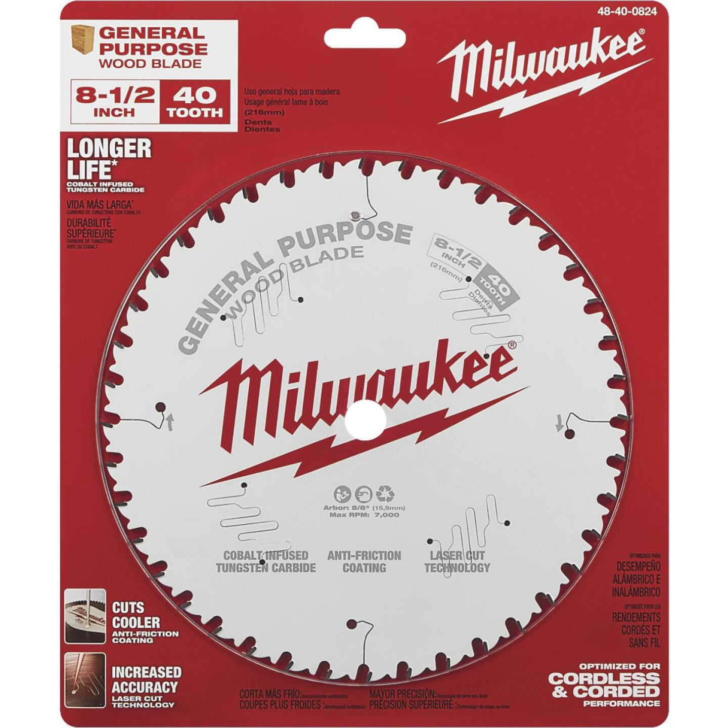 Milwaukee 8-1/2 In. 40-Tooth General Purpose Wood Circular Saw Blade Image 2