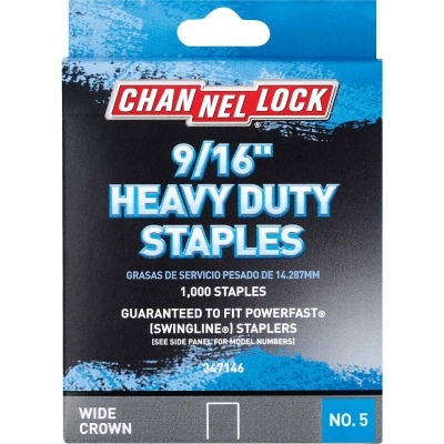 Channellock No. 5 Heavy-Duty Wide Crown Staple, 9/16 In. (1000-Pack)