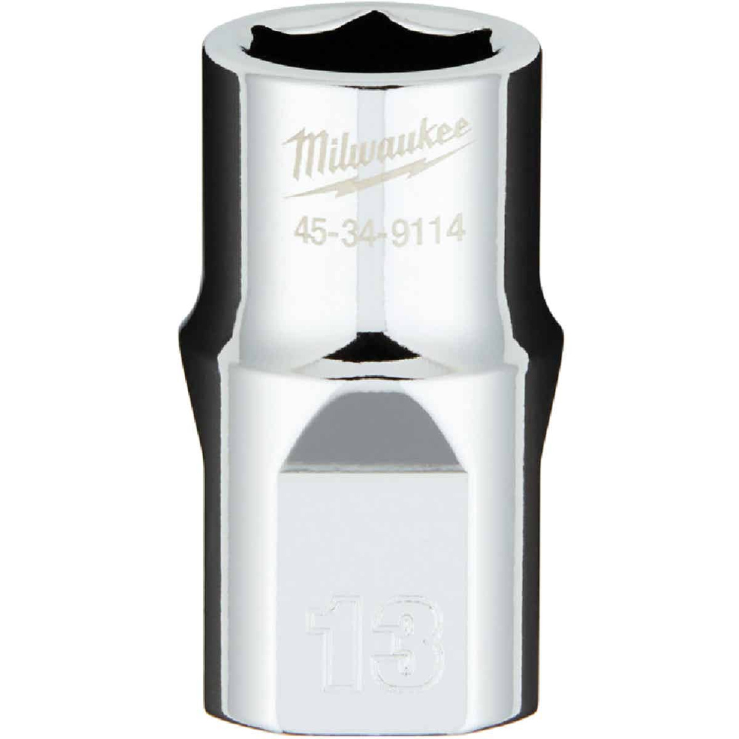 Milwaukee 1/2 In. Drive 13 mm 6-Point Shallow Metric Socket with FOUR FLAT Sides Image 1