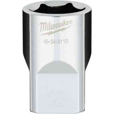 Milwaukee 1/2 In. Drive 18 mm 6-Point Shallow Metric Socket with FOUR FLAT Sides