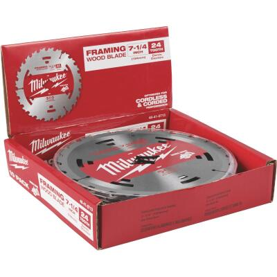 Milwaukee 7-1/4 In. 24-Tooth Standard Framing Worm Drive Circular Saw Blade, Bulk