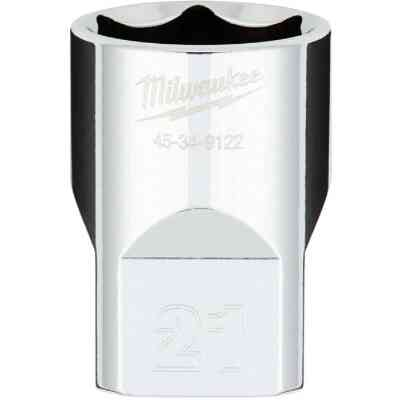 Milwaukee 1/2 In. Drive 21 mm 6-Point Shallow Metric Socket with FOUR FLAT Sides