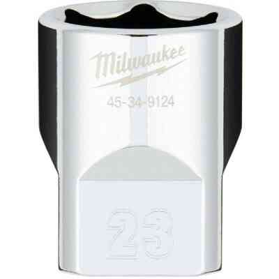 Milwaukee 1/2 In. Drive 23 mm 6-Point Shallow Metric Socket with FOUR FLAT Sides