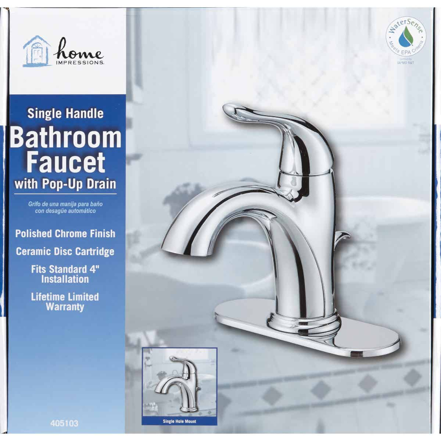Home Impressions Chrome 1-Handle Lever 4 In. Centerset Bathroom Faucet with Pop-Up Image 2