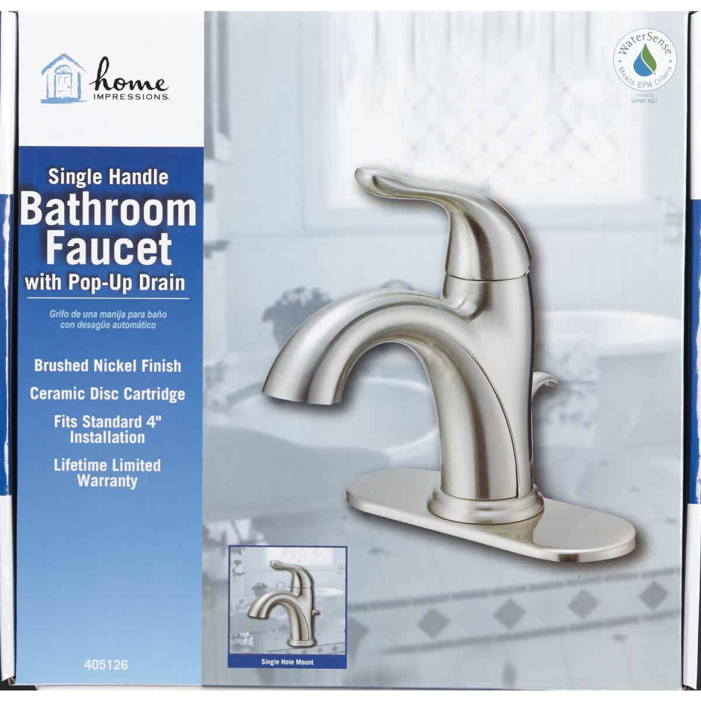 Home Impressions Brushed Nickel 1-Handle Lever 4 In. Centerset Bathroom Faucet with Pop-Up Image 2