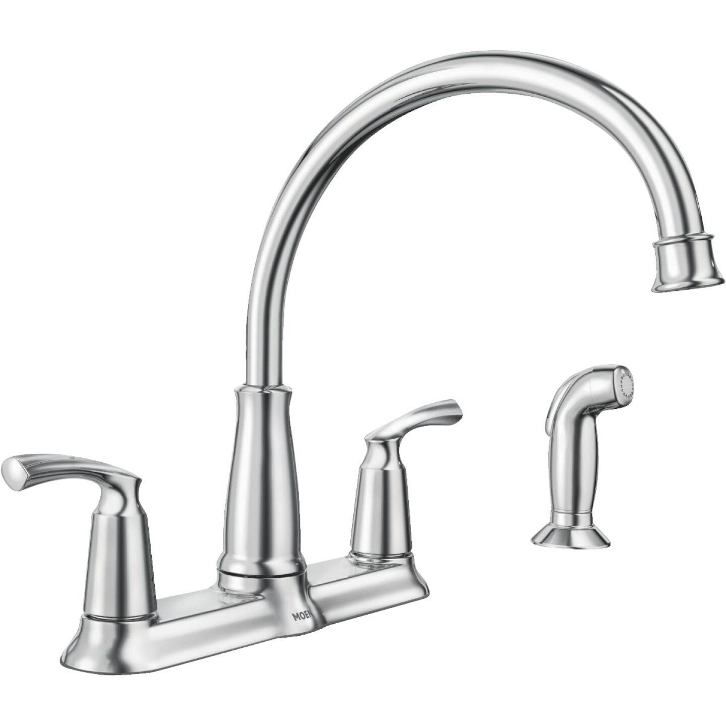 Moen Bexley Dual Handle Lever Kitchen Faucet with Side Spray, Chrome Image 1