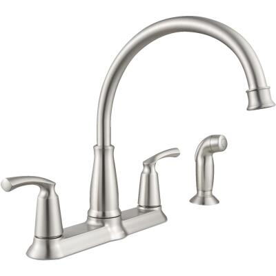 Moen Bexley Dual Handle Lever Kitchen Faucet with Side Spray, Stainless