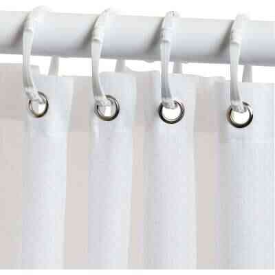 Zenith 70 In. x 72 In. White Fabric Shower Curtain