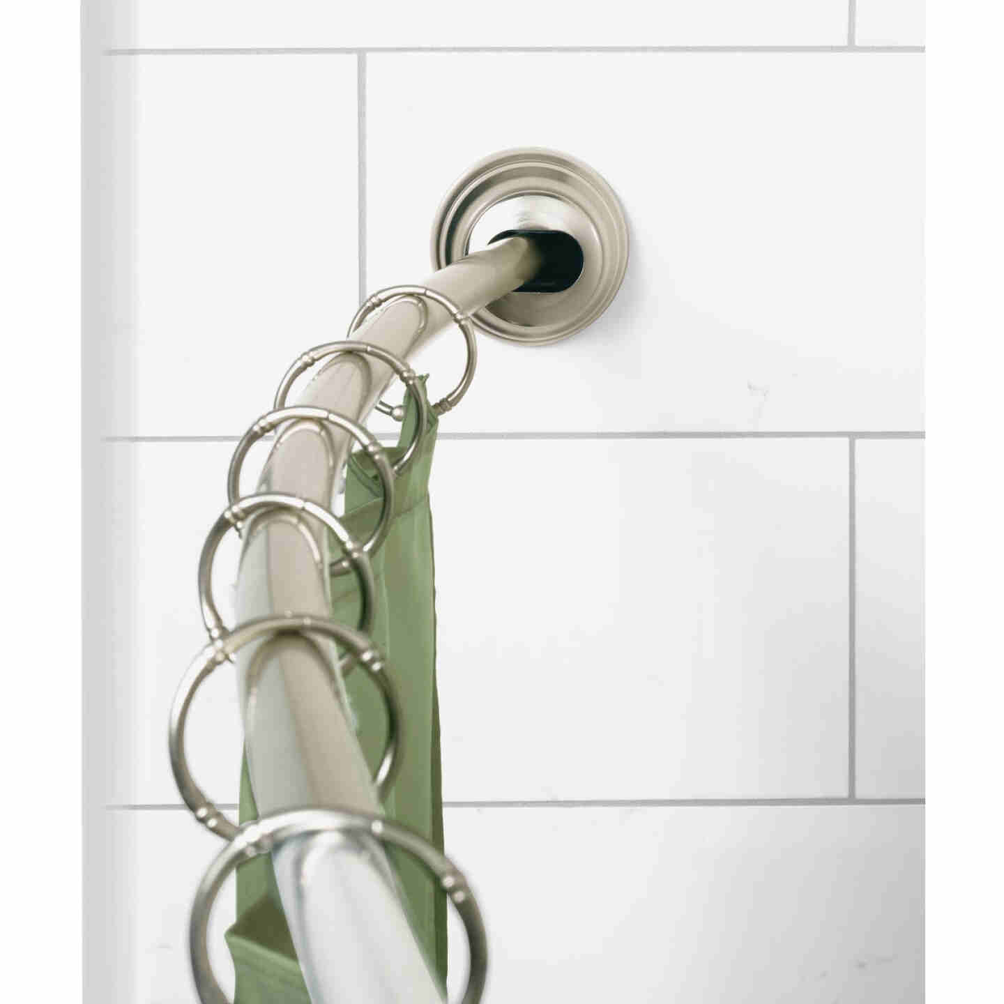 Zenna Home NeverRust 50 In. to 72 In. Adjustable Fixed or Tension Curved Shower Rod in Satin Nickel Image 2