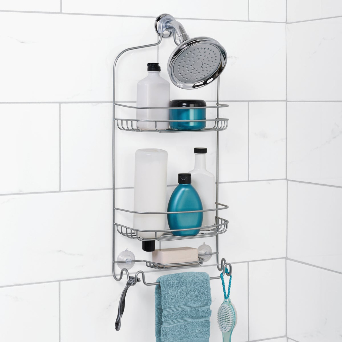 Zenna Home Satin Chrome Steel Shower Caddy Image 1