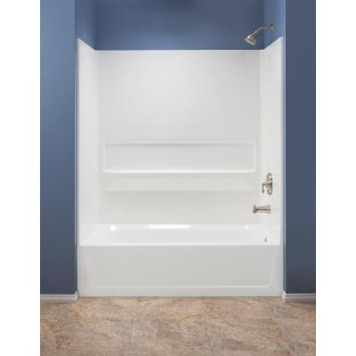 Mustee Topaz 3-Piece 60 In. L x 30 In. D (Bathtub) Tub Wall Kit in White