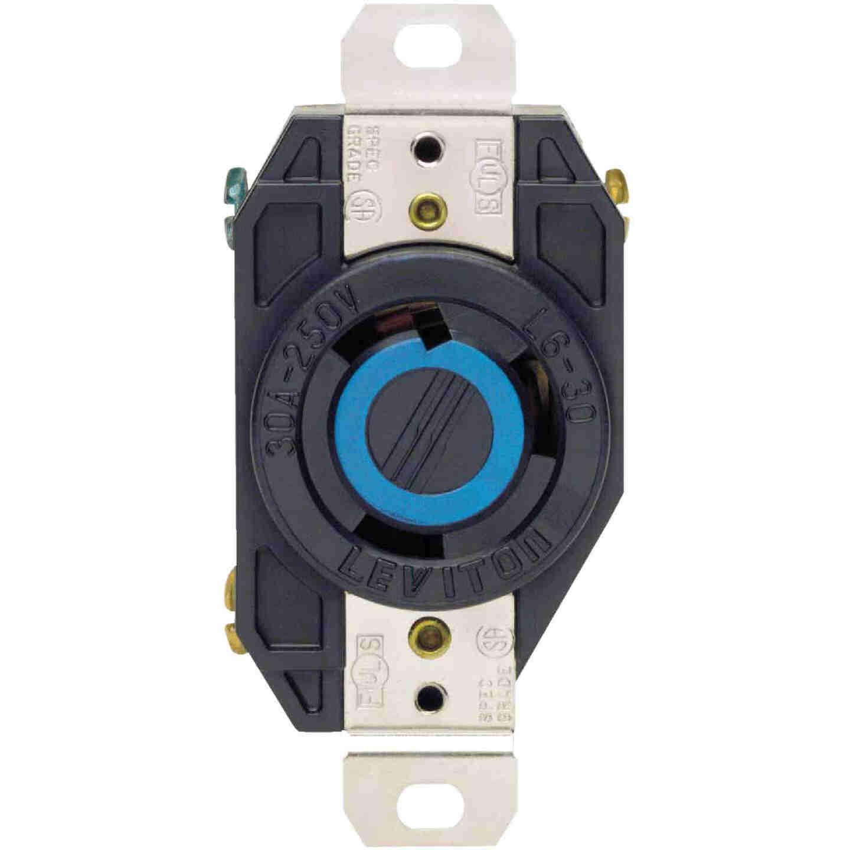 Leviton 30A 250V Black Industrial Grade L6-30R Locking Outlet Receptacle Image 2