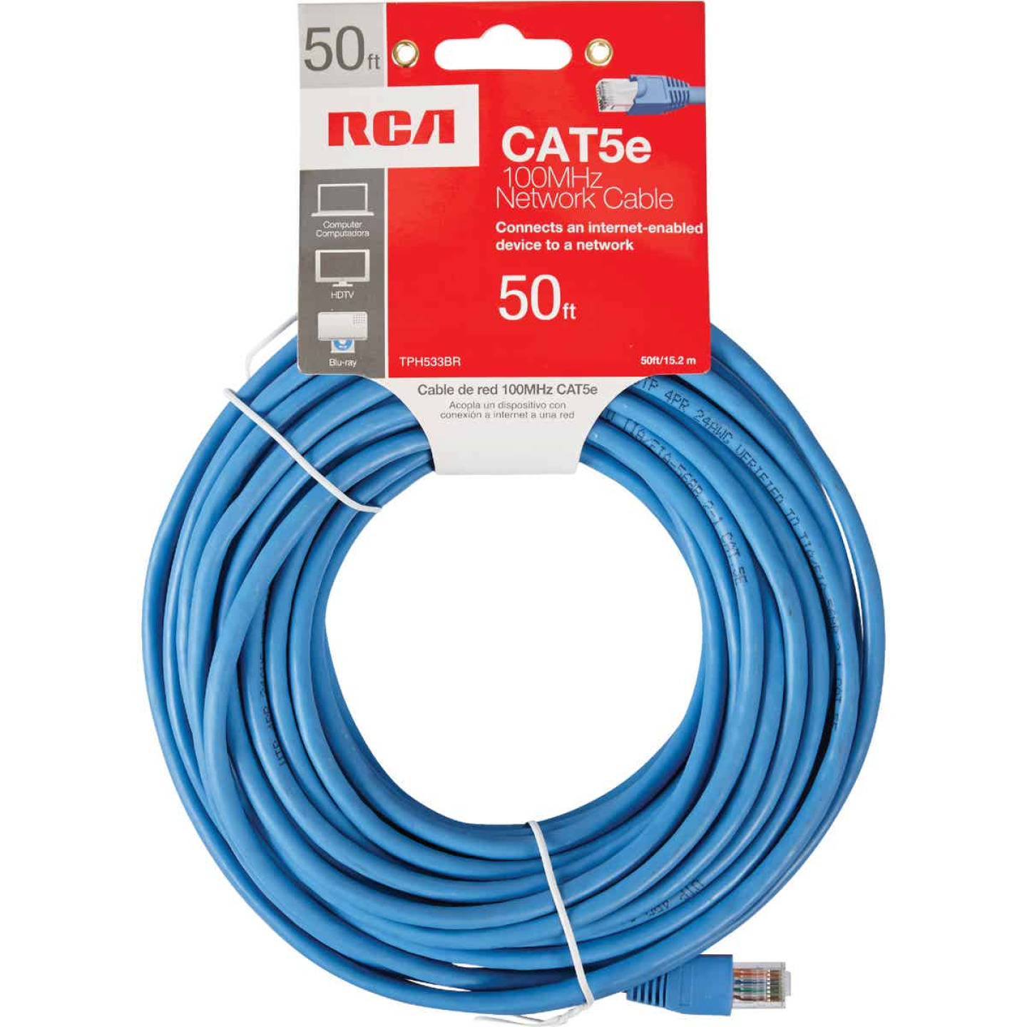RCA 50 Ft. CAT-5 Blue Network Cable Image 2