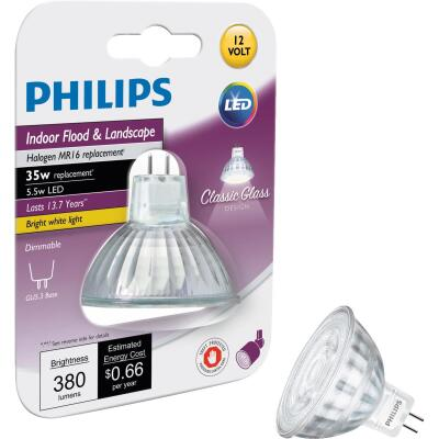 Philips Classic Glass 35W Equivalent Bright White MR16 GU5.3 LED Floodlight Light Bulb