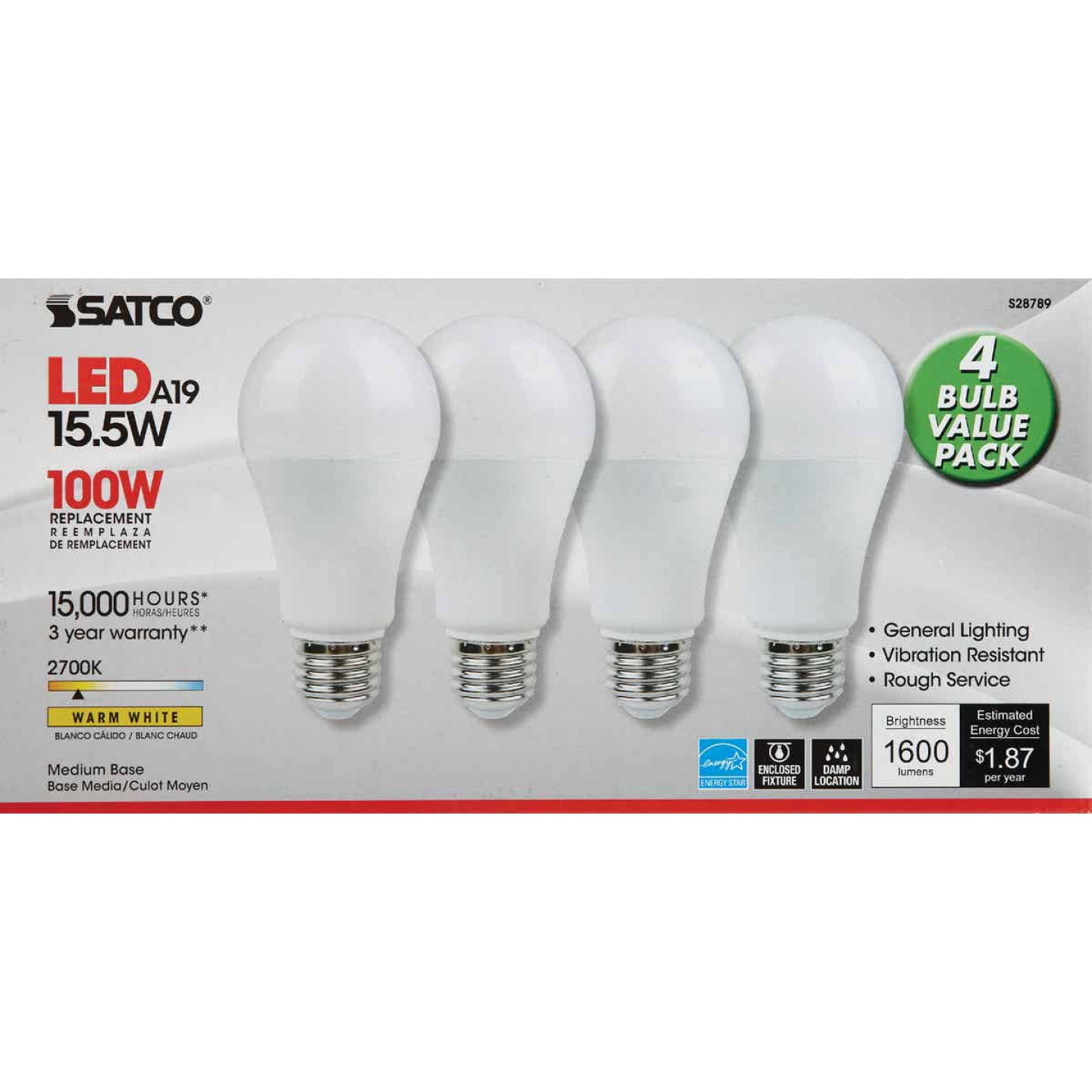 Satco 100W Equivalent Warm White A19 Medium LED Light Bulb (4-Pack) Image 2