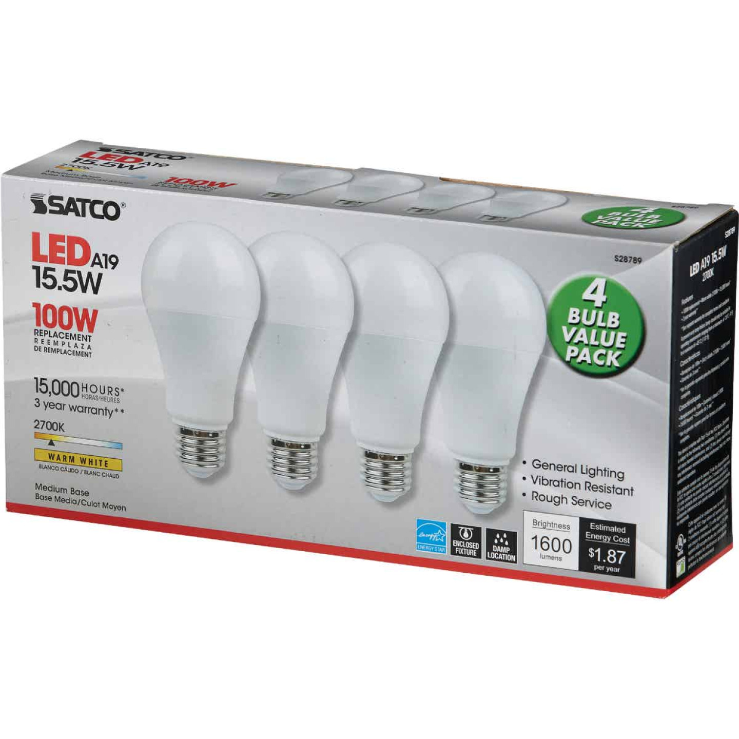 Satco 100W Equivalent Warm White A19 Medium LED Light Bulb (4-Pack) Image 3