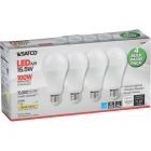 Satco 100W Equivalent Warm White A19 Medium LED Light Bulb (4-Pack) Image 4