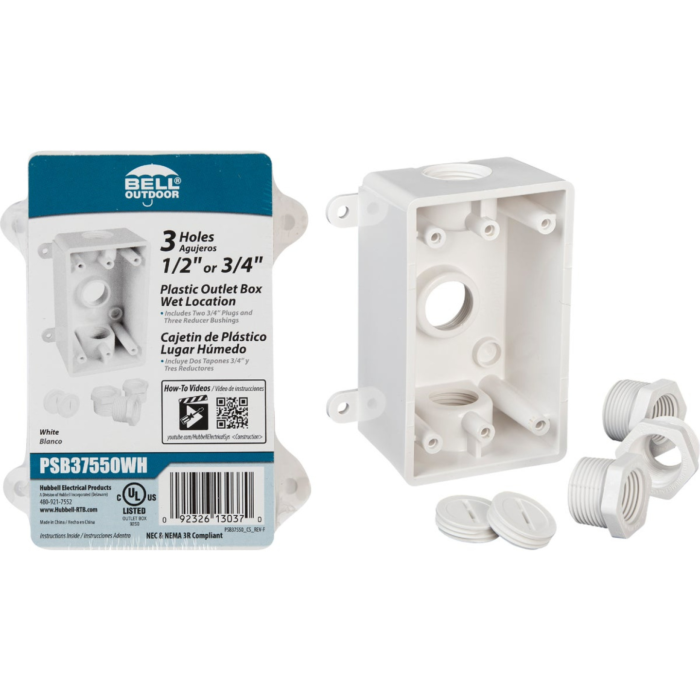 Bell Single Gang 1/2 In.,3/4 In. 3-Outlet White PVC Weatherproof Outdoor Outlet Box Image 1