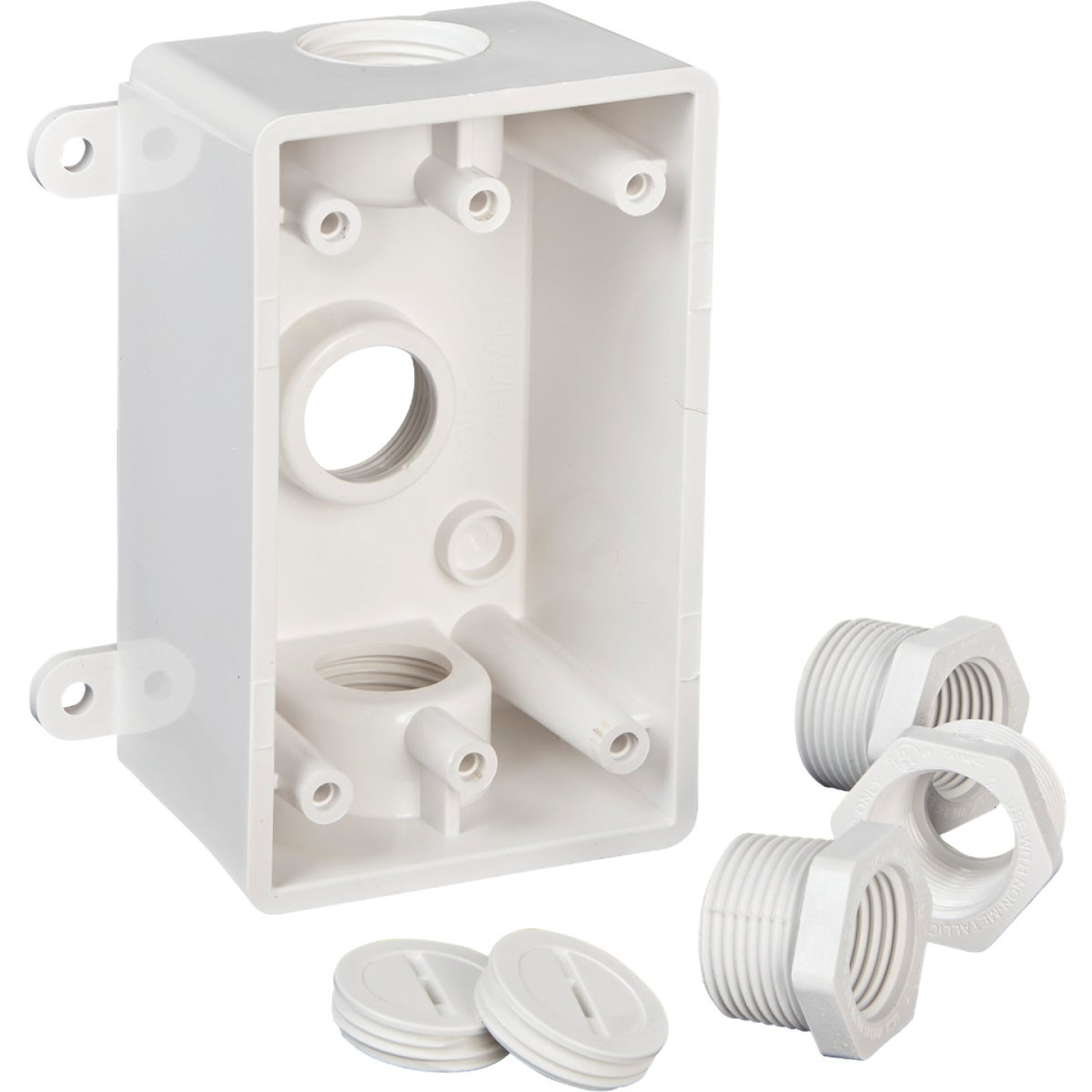 Bell Single Gang 1/2 In.,3/4 In. 3-Outlet White PVC Weatherproof Outdoor Outlet Box Image 3