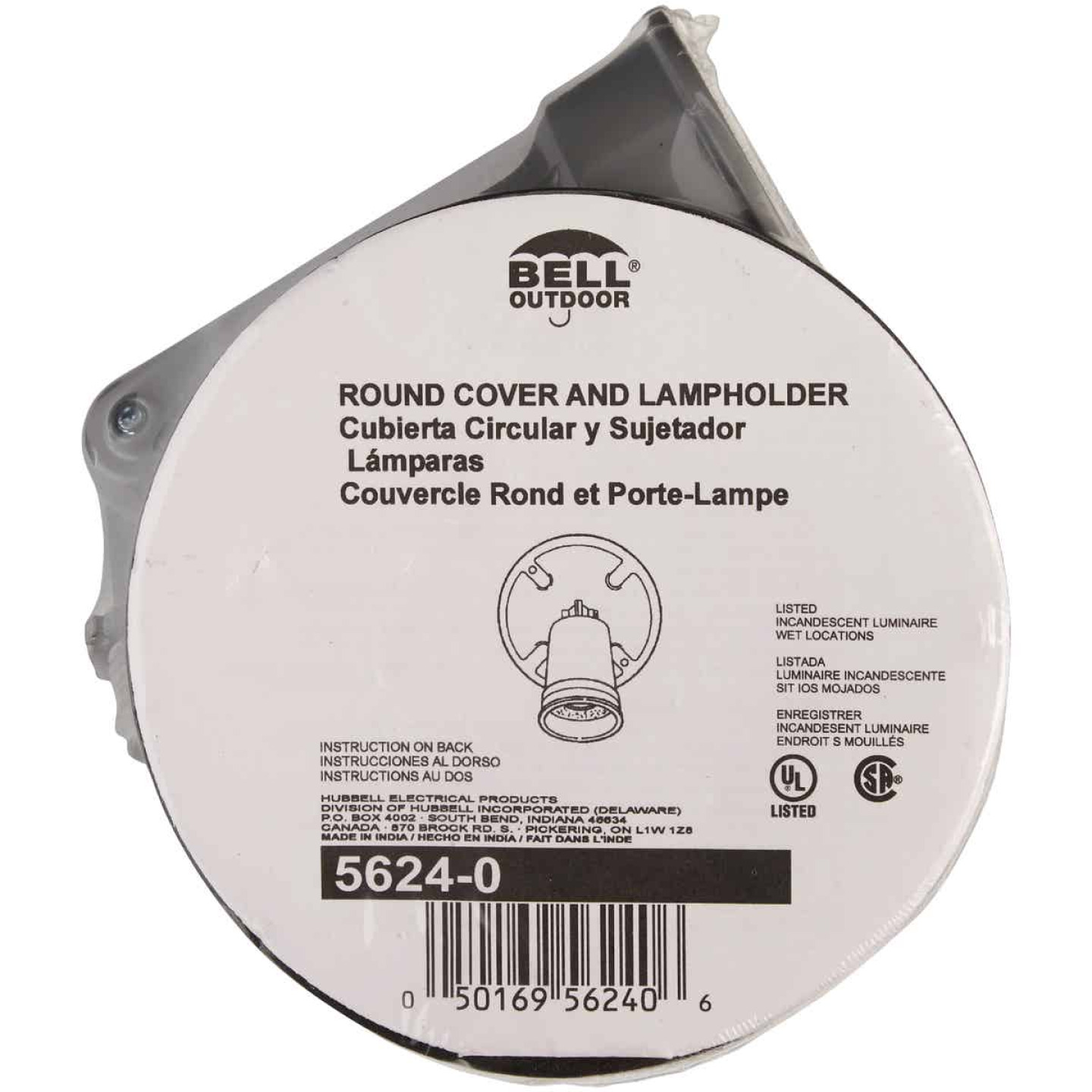 Bell Gray 150W Die-Cast Metal Round Weatherproof Single Outdoor Lampholder with Cover Image 2