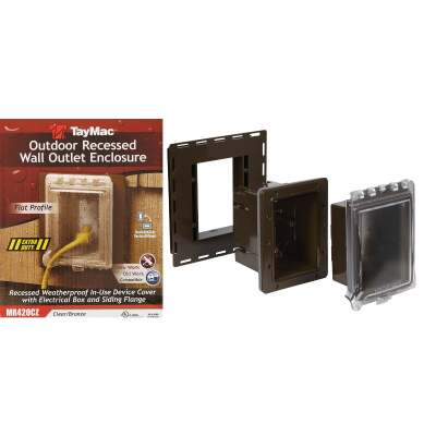 TayMac Bronze Vertical/Horizontal Non-Metallic Recessed Outdoor Outlet Kit