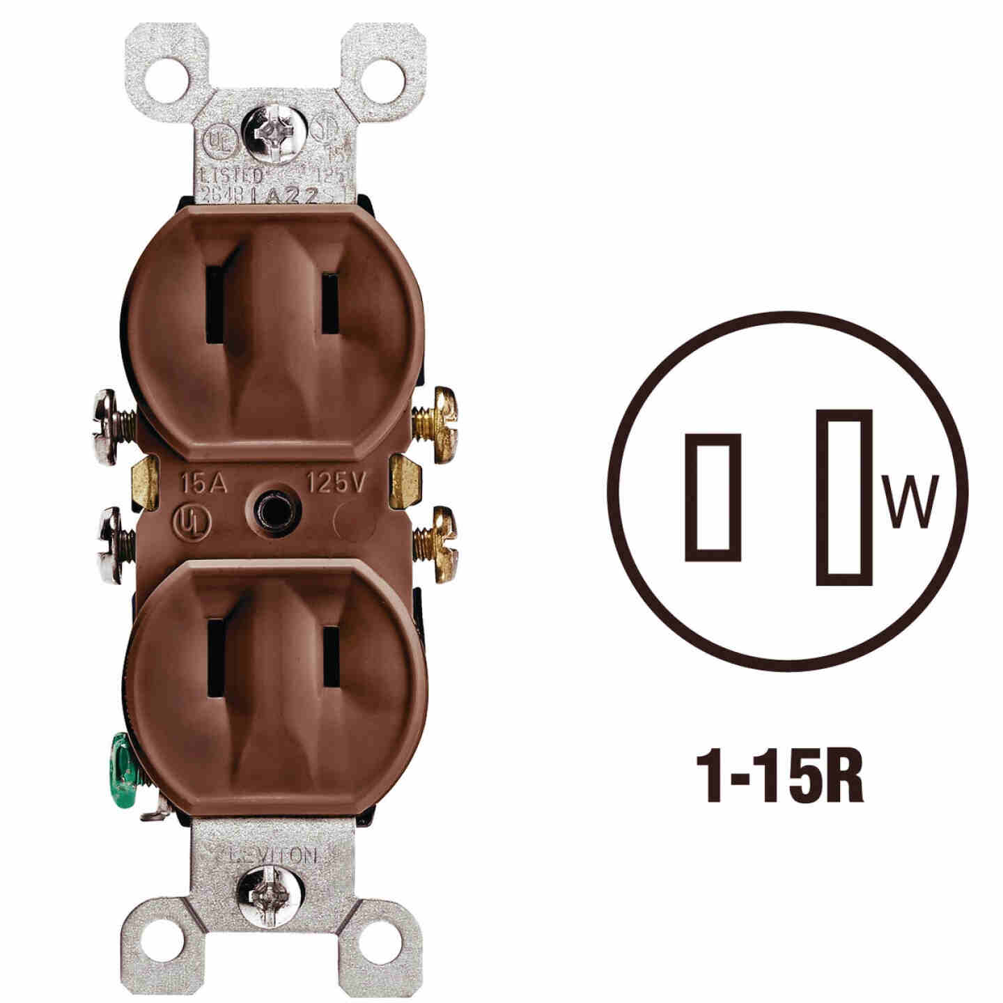 Leviton 15A Brown Residential Grade 1-15R Duplex Outlet Image 1