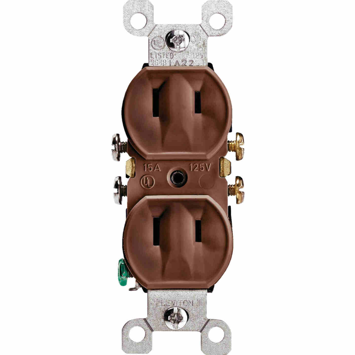 Leviton 15A Brown Residential Grade 1-15R Duplex Outlet Image 2