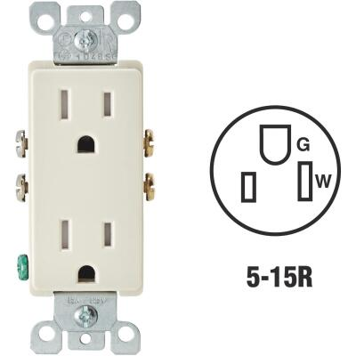 Leviton Decora 15A Light Almond Tamper Resistant 5-15R Duplex Outlet