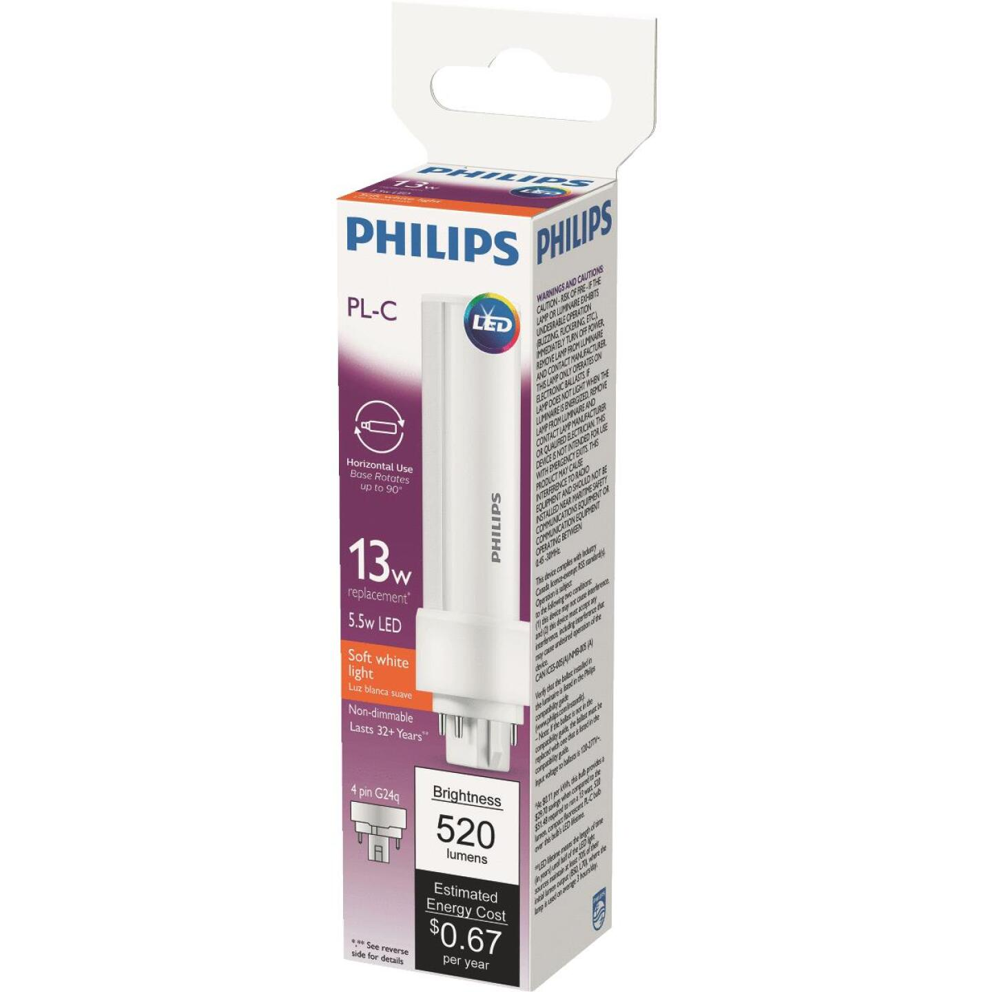 Philips 13W Equivalent Soft White PL-C 4-Pin Horizontal Orientation LED Tube Light Bulb Image 1