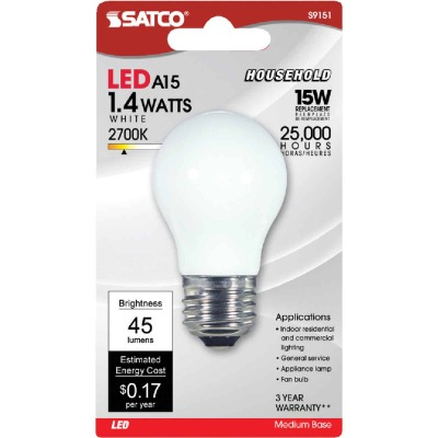 Satco 15W Equivalent Soft White A15 Medium LED Decorative Fan Light Bulb