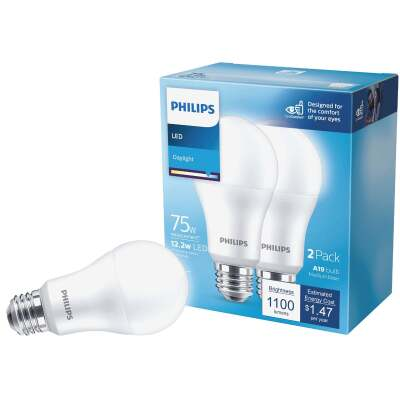 Philips 75W Equivalent Daylight A21 Medium LED Light Bulb (2-Pack)
