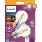 Philips Warm Glow 60W Eqivalent Soft White G16.5 Medium Dimmable LED Decorative Light Bulb (2-Pack) Image 1