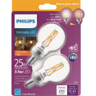 Philips Warm Glow 25W Equivalent Soft White G16.5 Candelabra Dimmable LED Decorative Light Bulb (2-Pack) Image 1