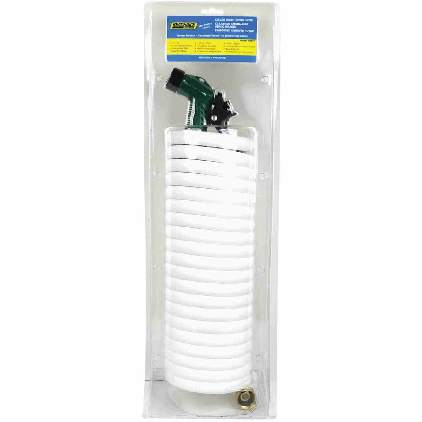 Seachoice 1/2 In. Dia x 25 Ft. L White Coiled Washdown Hose w/Sprayer and Fittings Image 1