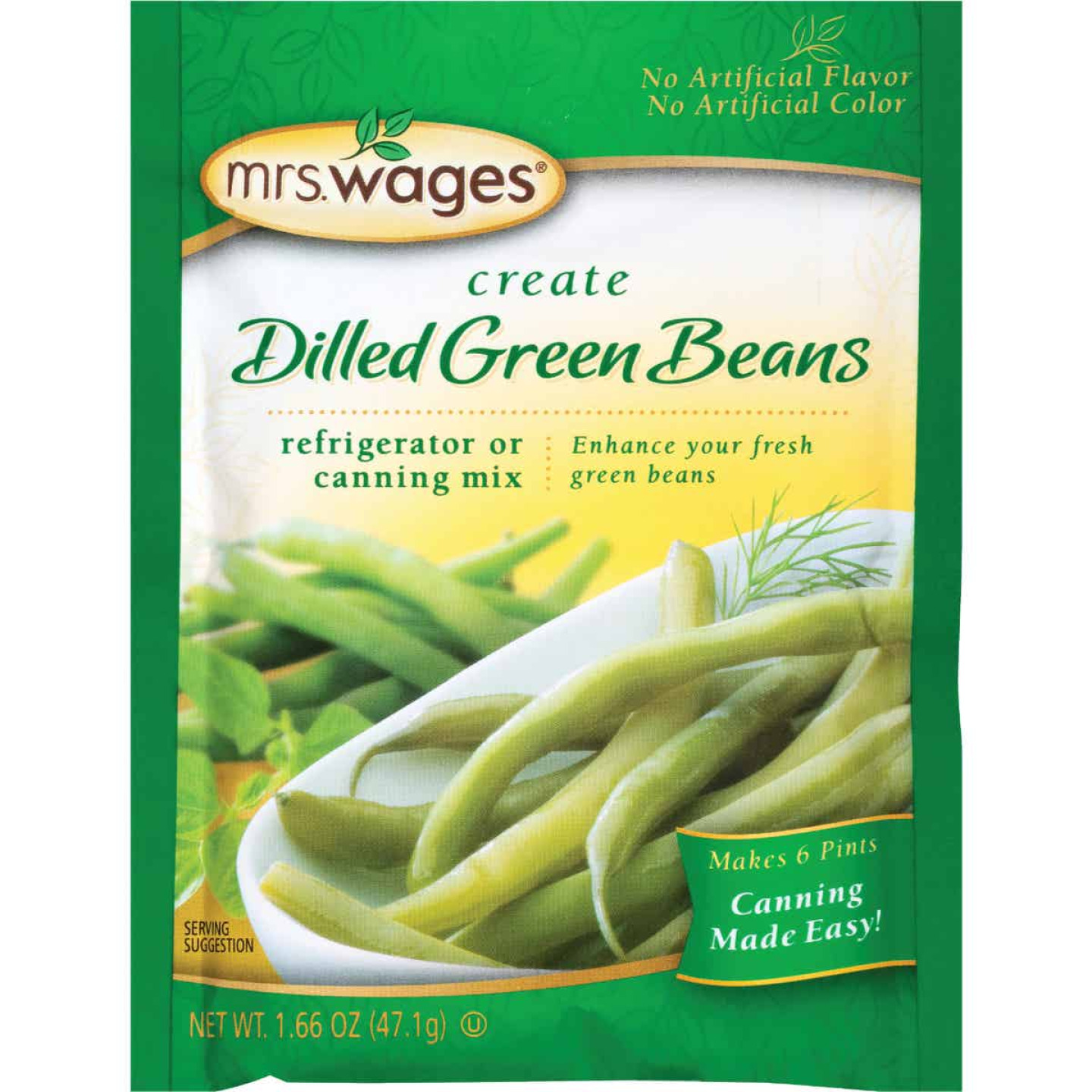Mrs. Wages 1.7 Oz. Dilled Green Beans Refrigerator Or Canning Pickling Mix Image 1