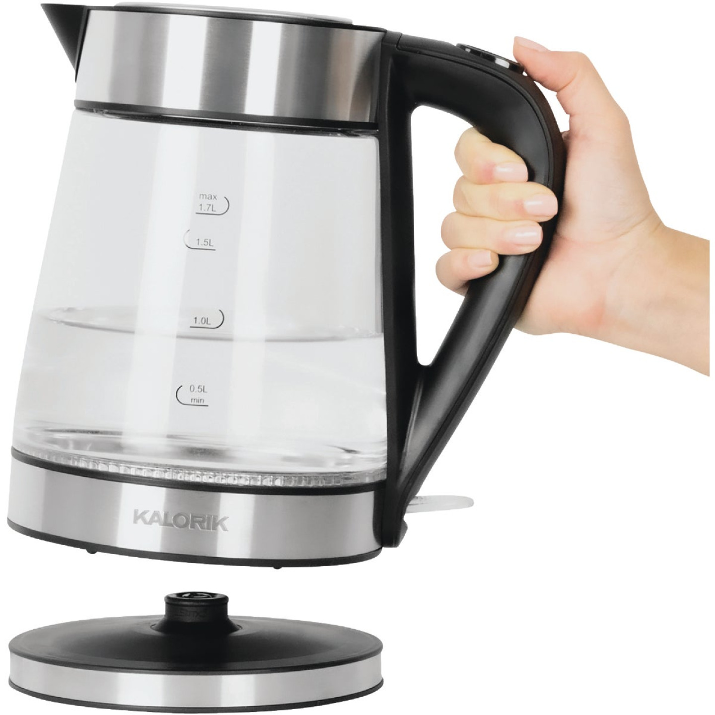Kalorik 7 Cup Stainless Steel Color Changing LED Electric Kettle Image 1