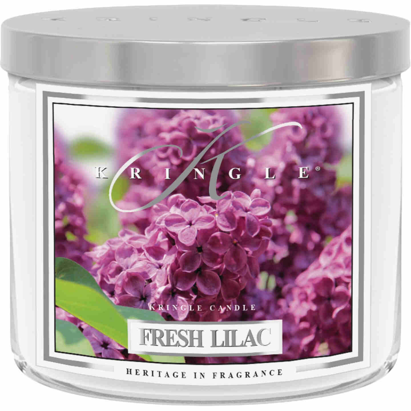 Kringle Candle 14.5 Oz. Fresh Lilac 3-Wick Soy Jar Candle Image 1