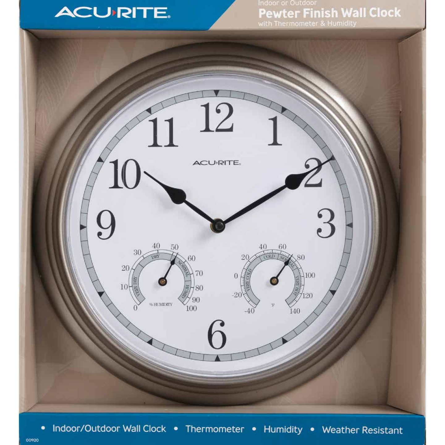 "Acurite 13.5"" Metal Indoor/Outdoor Clock Thermometer Image 3"