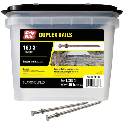 Grip-Rite 16d x 3 In. Bright Duplex Framing Nails (1280 Ct., 30 Lb.)