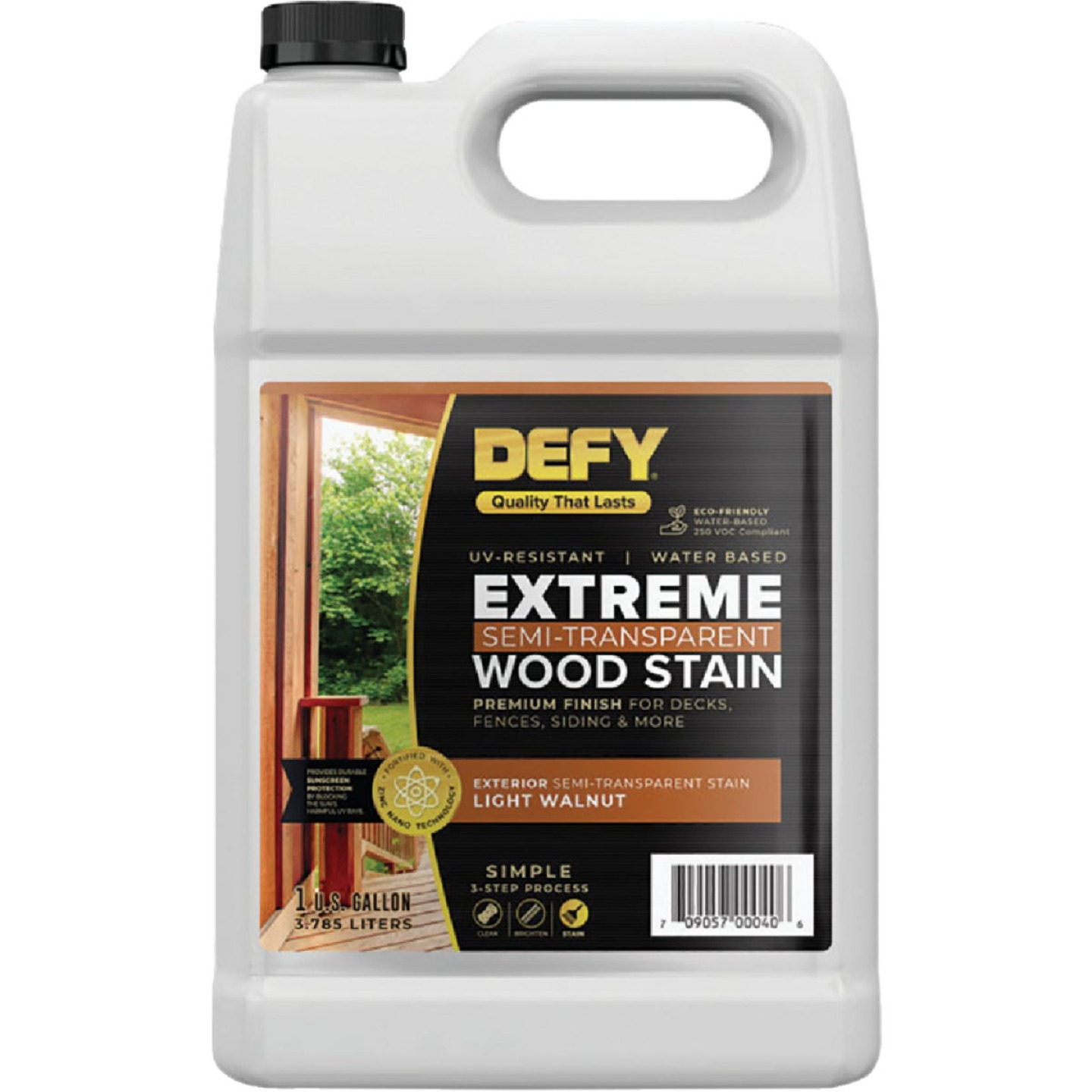DEFY Extreme Semi-Transparent Exterior Wood Stain, Light Walnut, 1 Gal. Bottle Image 1