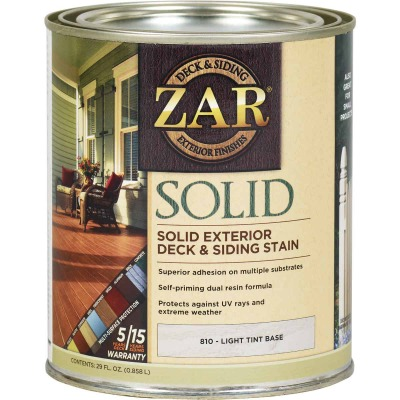 ZAR Solid Deck & Siding Stain, Light Tint Base, 1 Qt.