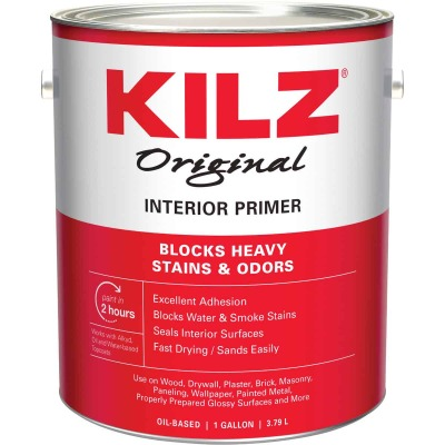 Kilz Original Oil-Based Low VOC Interior Primer Sealer Stainblocker, White, 1 Gal.